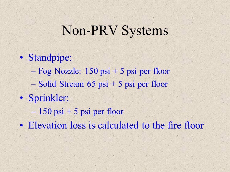 Non-PRV Systems Standpipe: Sprinkler: