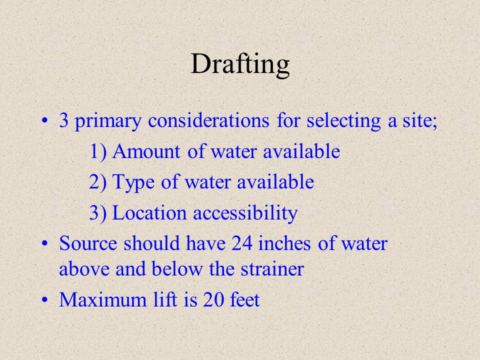 Drafting 3 primary considerations for selecting a site;