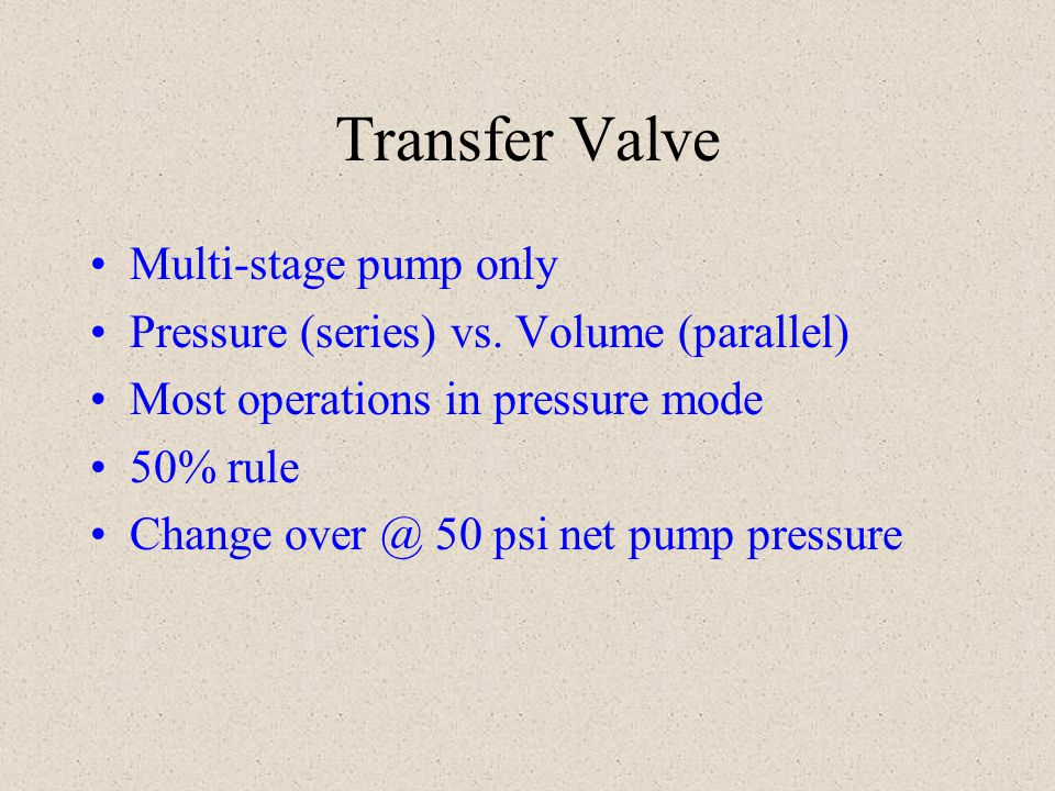 Transfer Valve Multi-stage pump only