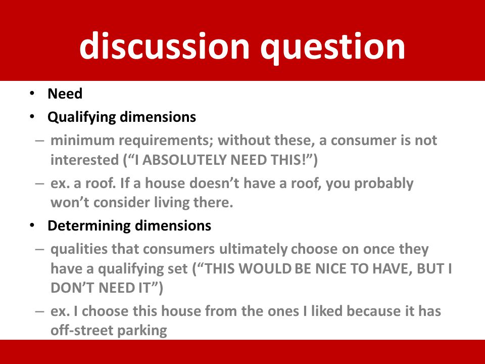 discussion question Need Qualifying dimensions