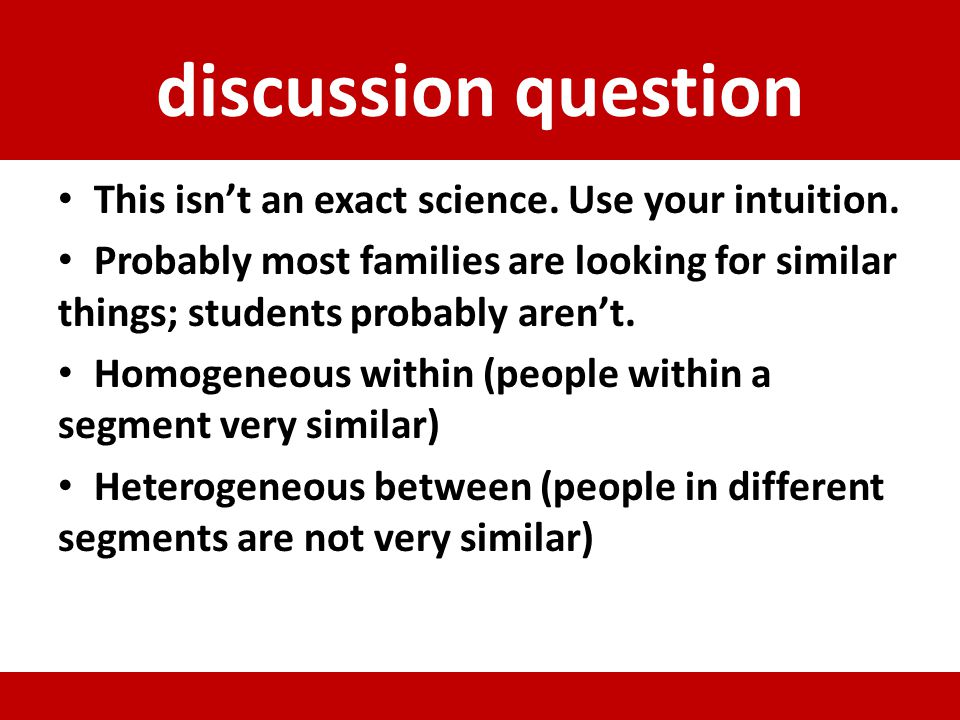 discussion question This isn't an exact science. Use your intuition.
