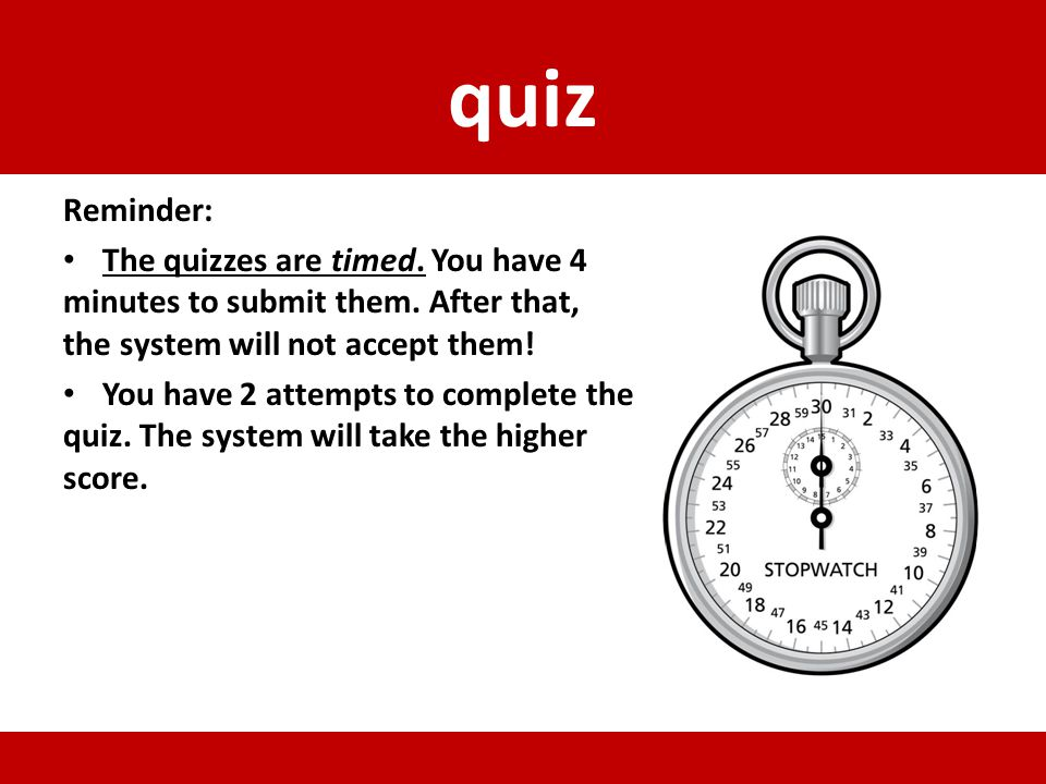 quiz Reminder: The quizzes are timed. You have 4 minutes to submit them. After that, the system will not accept them!
