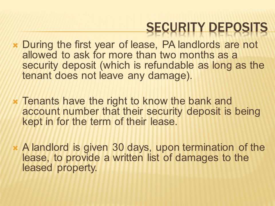 Security deposits