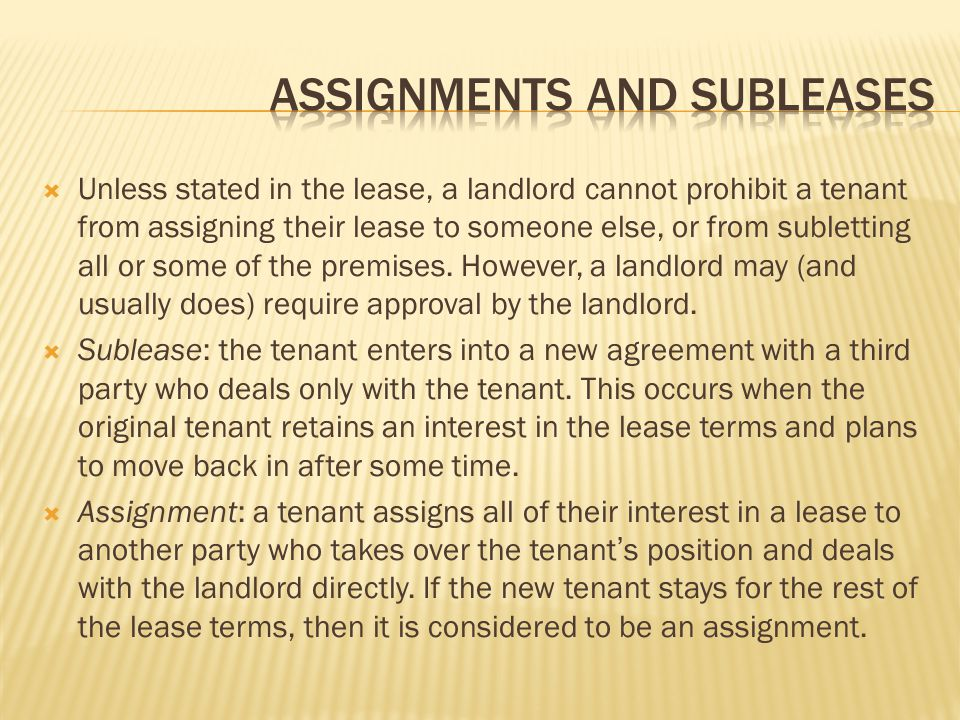 assignments and subleases