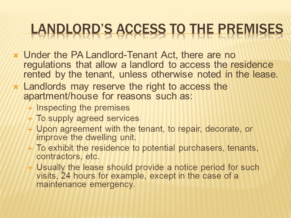 Landlord's access to the premises