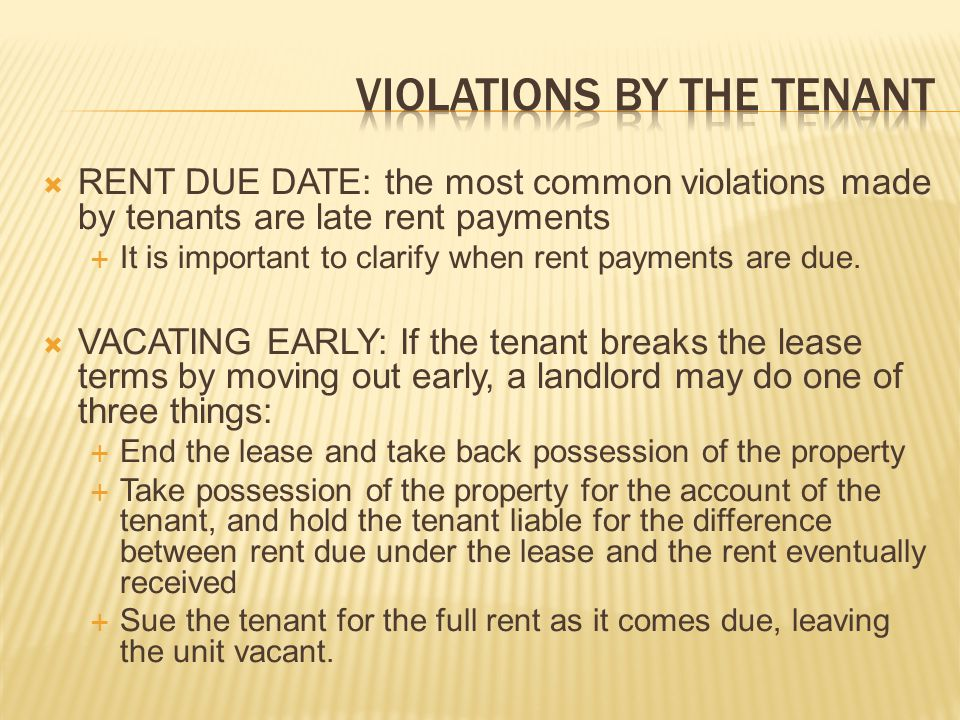 Violations by the tenant