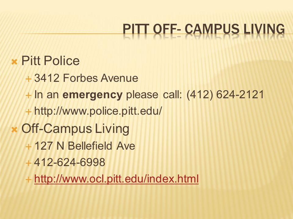 Pitt Off- campus living
