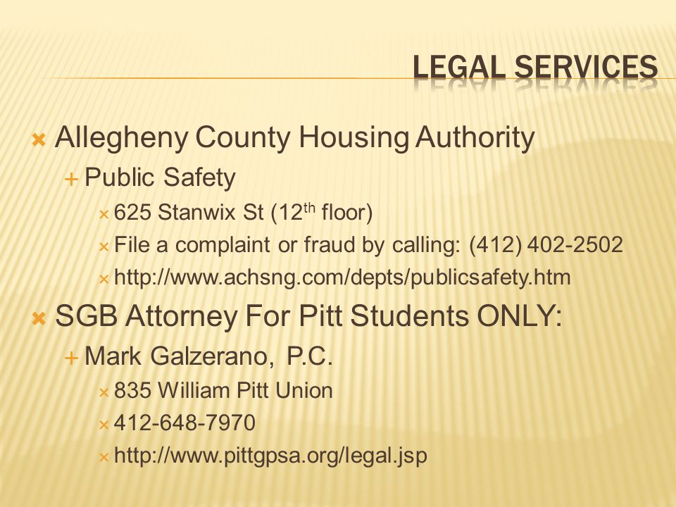 Legal services Allegheny County Housing Authority