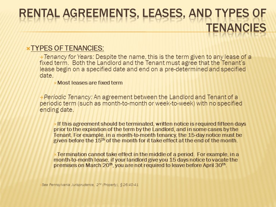TYPES OF TENANCIES: