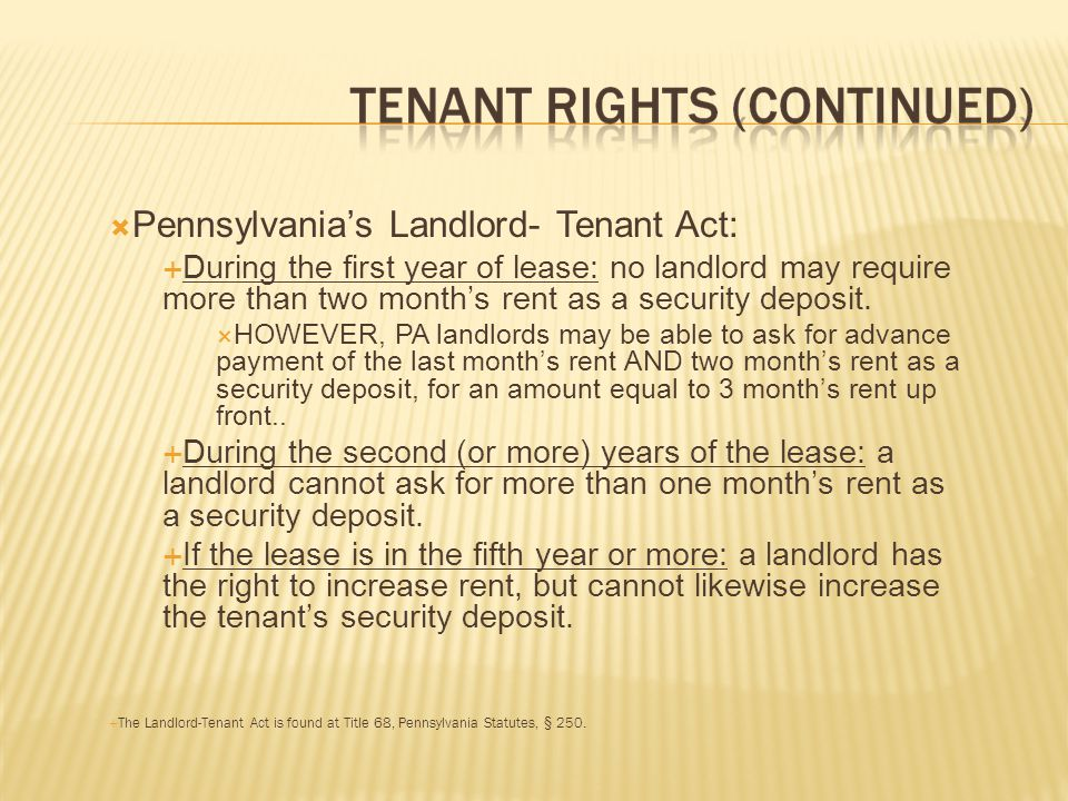 Pennsylvania's Landlord- Tenant Act: