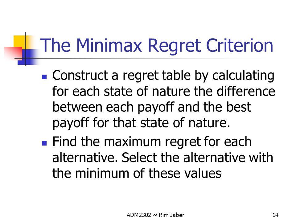 The Minimax Regret Criterion