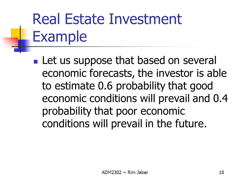 Real Estate Investment Example