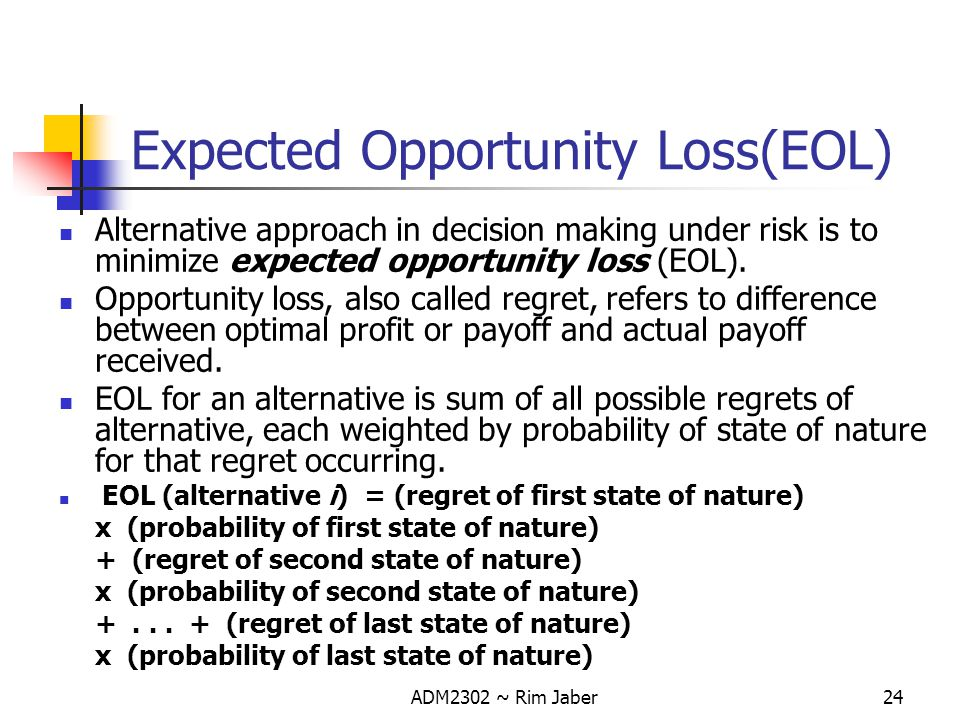 Expected Opportunity Loss(EOL)