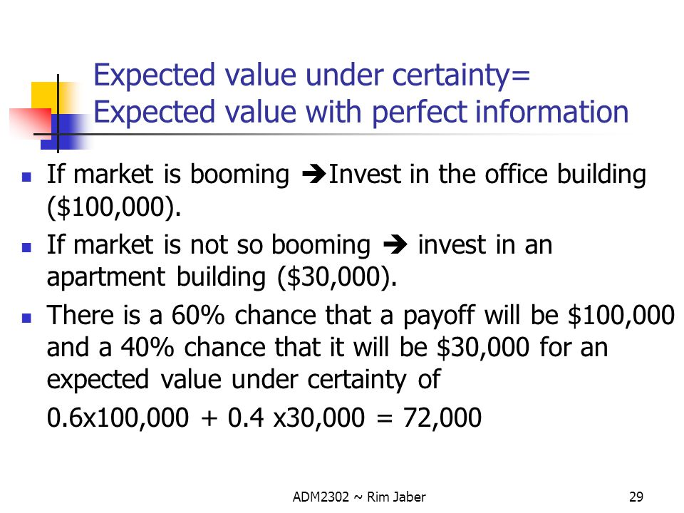 Expected value under certainty= Expected value with perfect information
