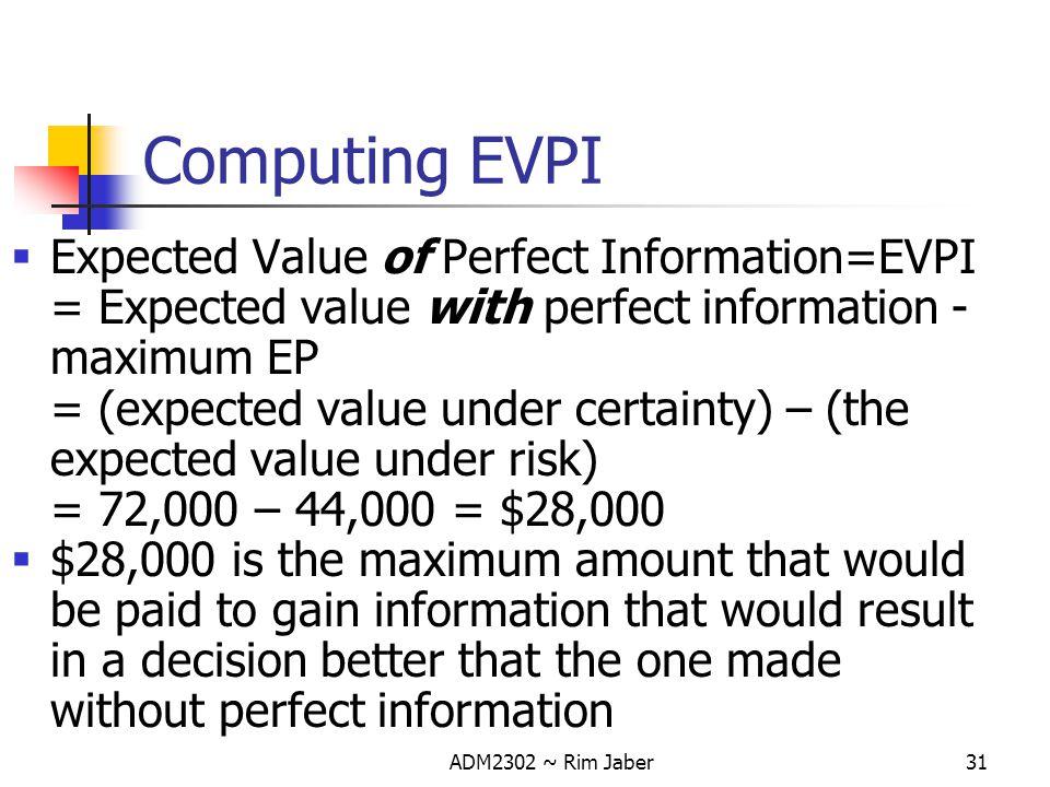 Computing EVPI Expected Value of Perfect Information=EVPI = Expected value with perfect information - maximum EP.