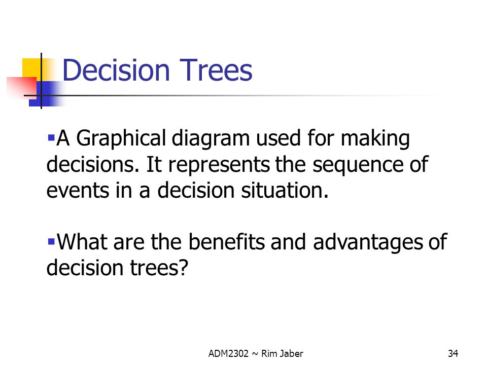 Decision Trees A Graphical diagram used for making decisions. It represents the sequence of events in a decision situation.