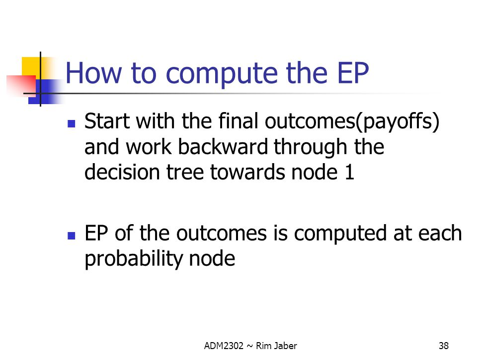 How to compute the EP Start with the final outcomes(payoffs) and work backward through the decision tree towards node 1.