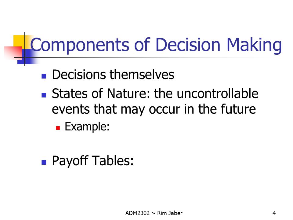 Components of Decision Making