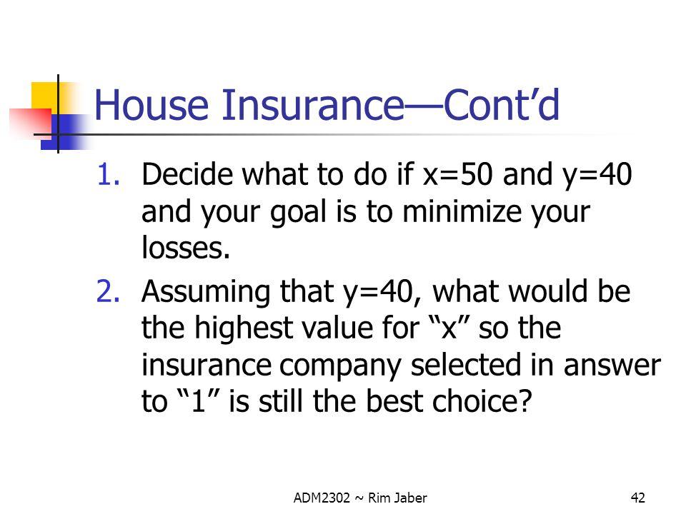 House Insurance—Cont'd