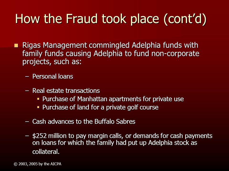 How the Fraud took place (cont'd)