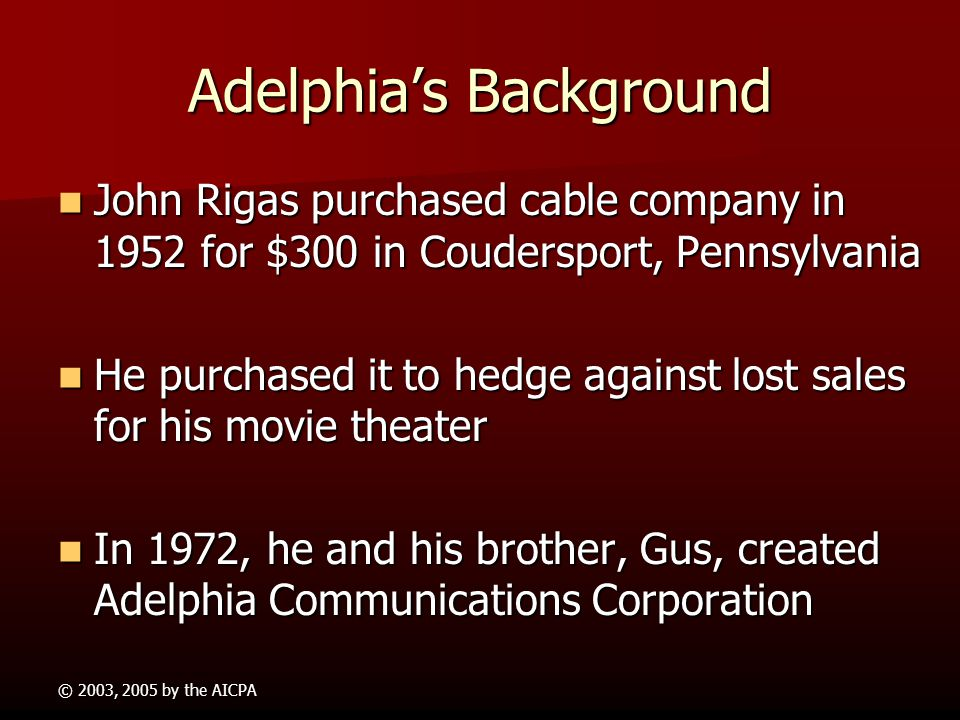 adelphia fraud Suspended trading of the stock on june 25, 2002 adelphia filed for bankruptcy by 2005 nearly a $1 billion was spent to investigate, unwind, and break up adelphia john and tim rigas were each sentenced to 20 years in prison for a variety of charges including financial fraud other executives pleaded guilty as well.