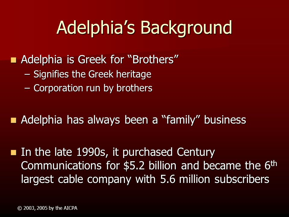 adelphia communications Adelphia communications corporation - managing legal operations of a  bankrupt company adelphia communications was a cable communications  company.
