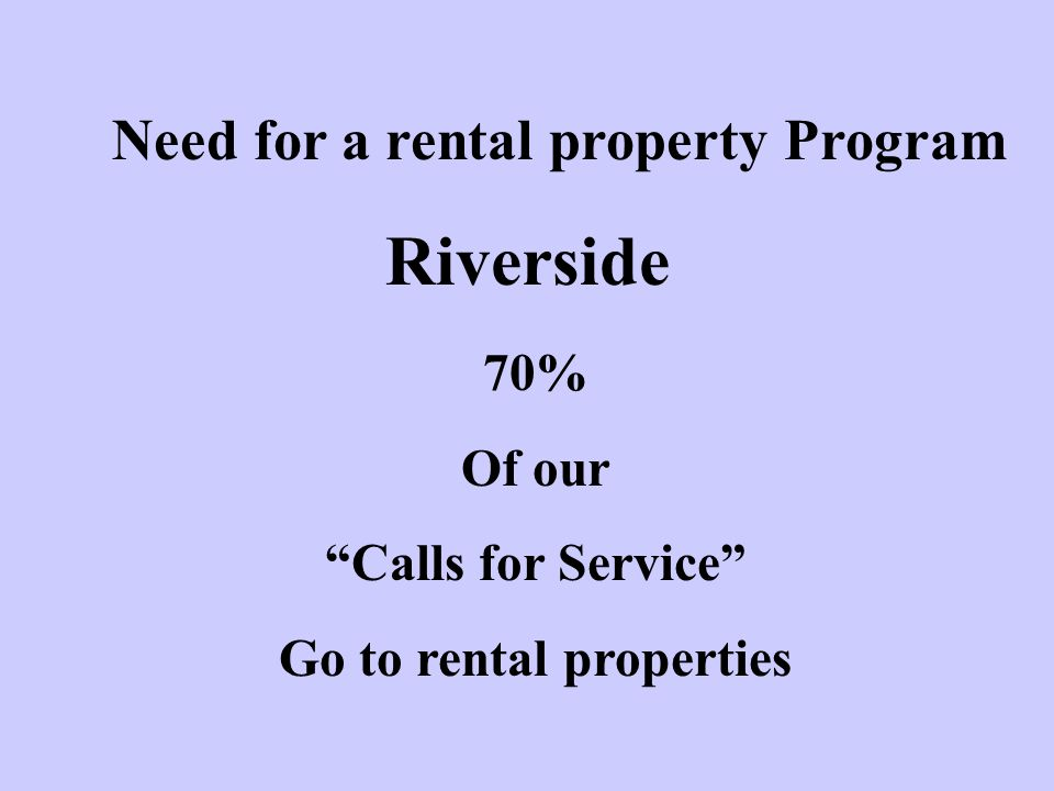 Need for a rental property Program Go to rental properties