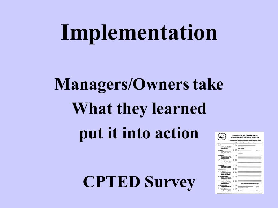 Implementation Managers/Owners take What they learned