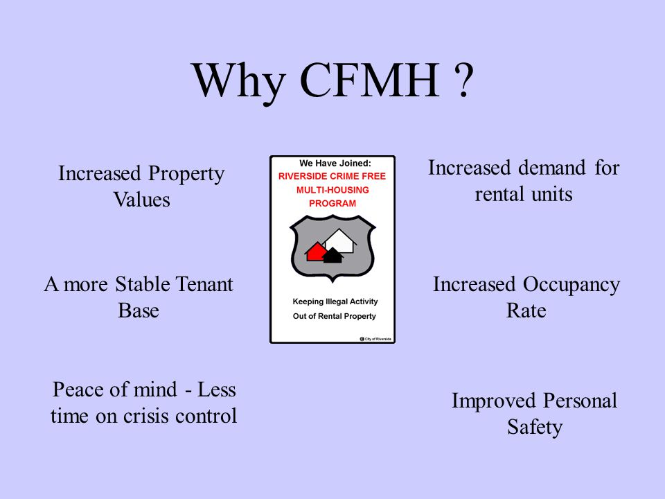 Why CFMH Increased demand for rental units Increased Property Values