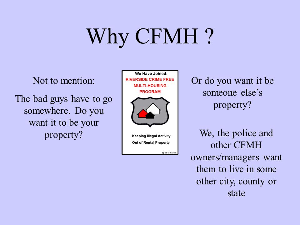 Why CFMH Not to mention: