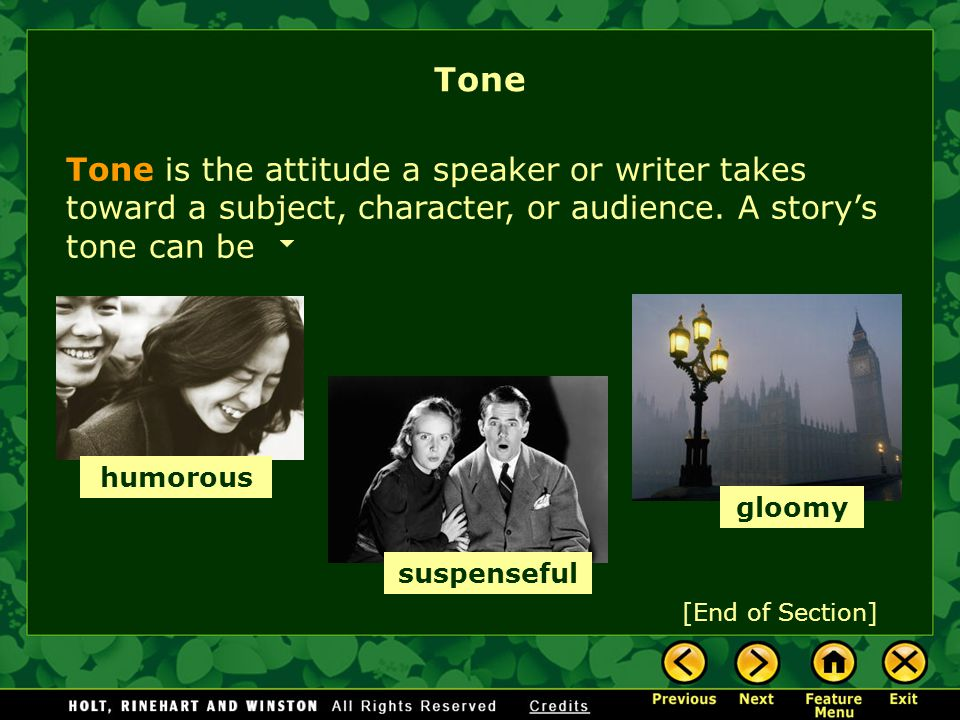 Tone Tone is the attitude a speaker or writer takes toward a subject, character, or audience. A story's tone can be.