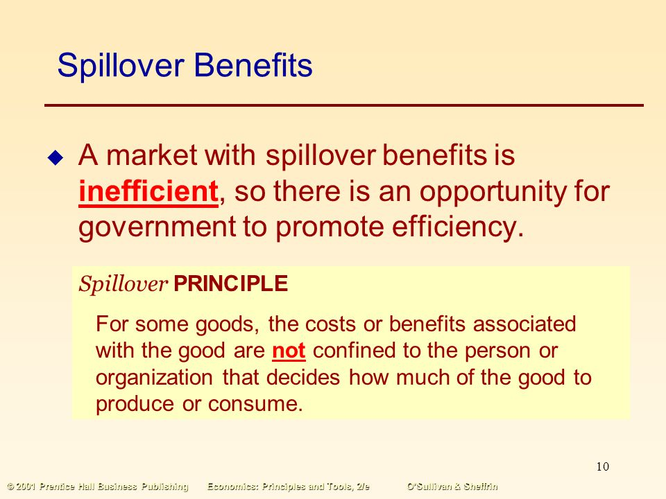 Spillover Benefits A market with spillover benefits is inefficient, so there is an opportunity for government to promote efficiency.