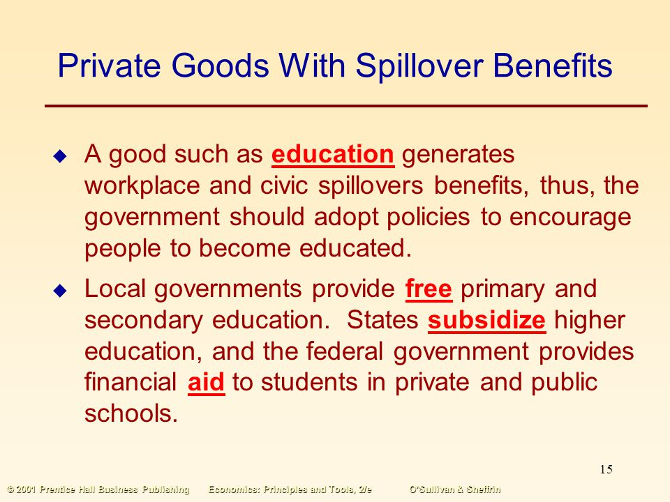 Private Goods With Spillover Benefits