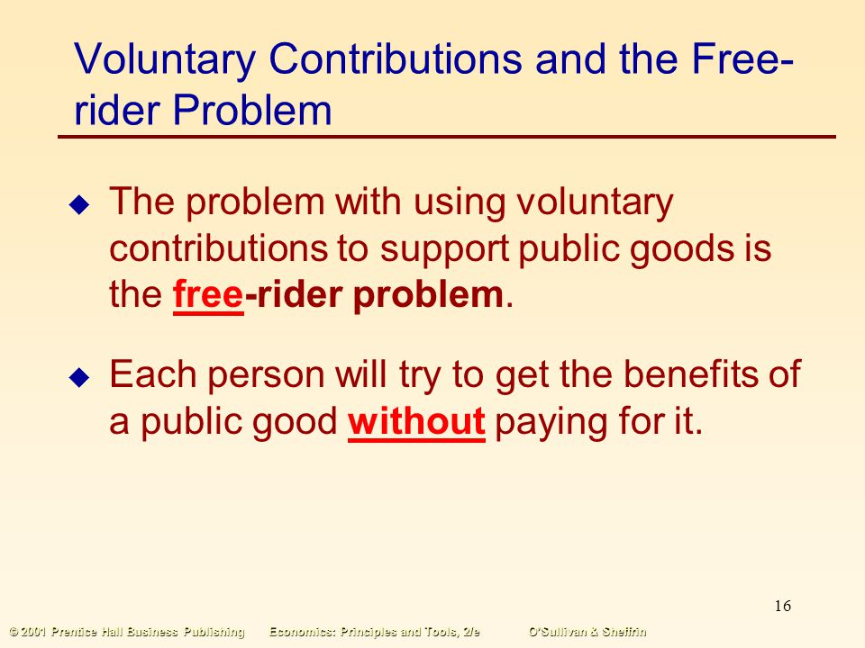 Voluntary Contributions and the Free-rider Problem