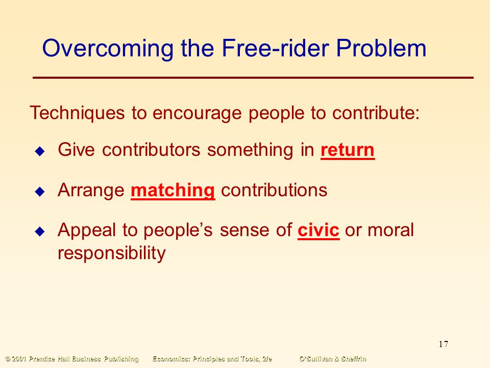 Overcoming the Free-rider Problem
