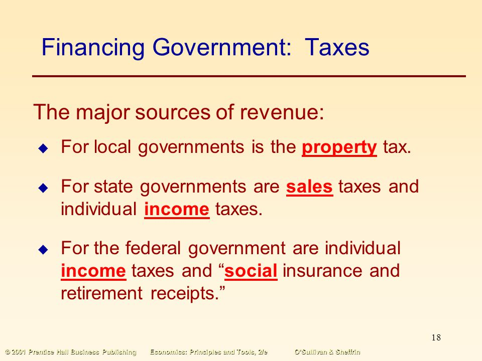 Financing Government: Taxes