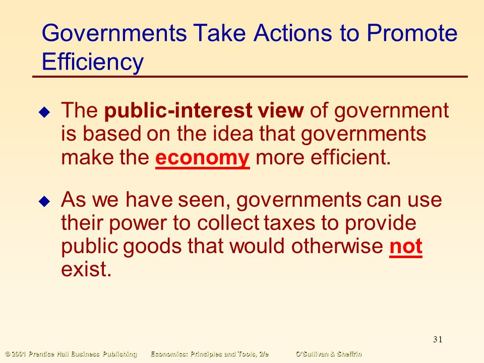 Governments Take Actions to Promote Efficiency