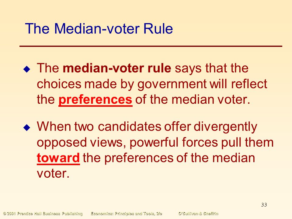 The Median-voter Rule The median-voter rule says that the choices made by government will reflect the preferences of the median voter.
