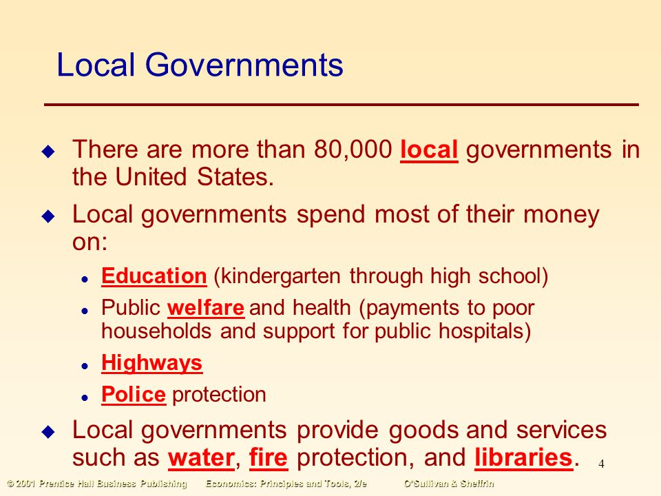 Local Governments There are more than 80,000 local governments in the United States. Local governments spend most of their money on:
