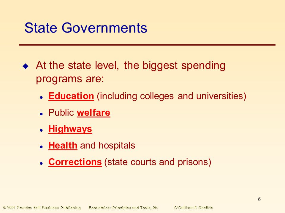 State Governments At the state level, the biggest spending programs are: Education (including colleges and universities)