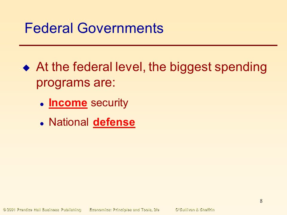 Federal Governments At the federal level, the biggest spending programs are: Income security. National defense.