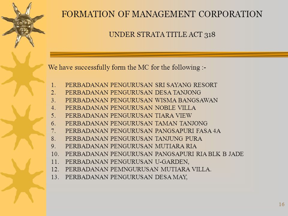 FORMATION OF MANAGEMENT CORPORATION