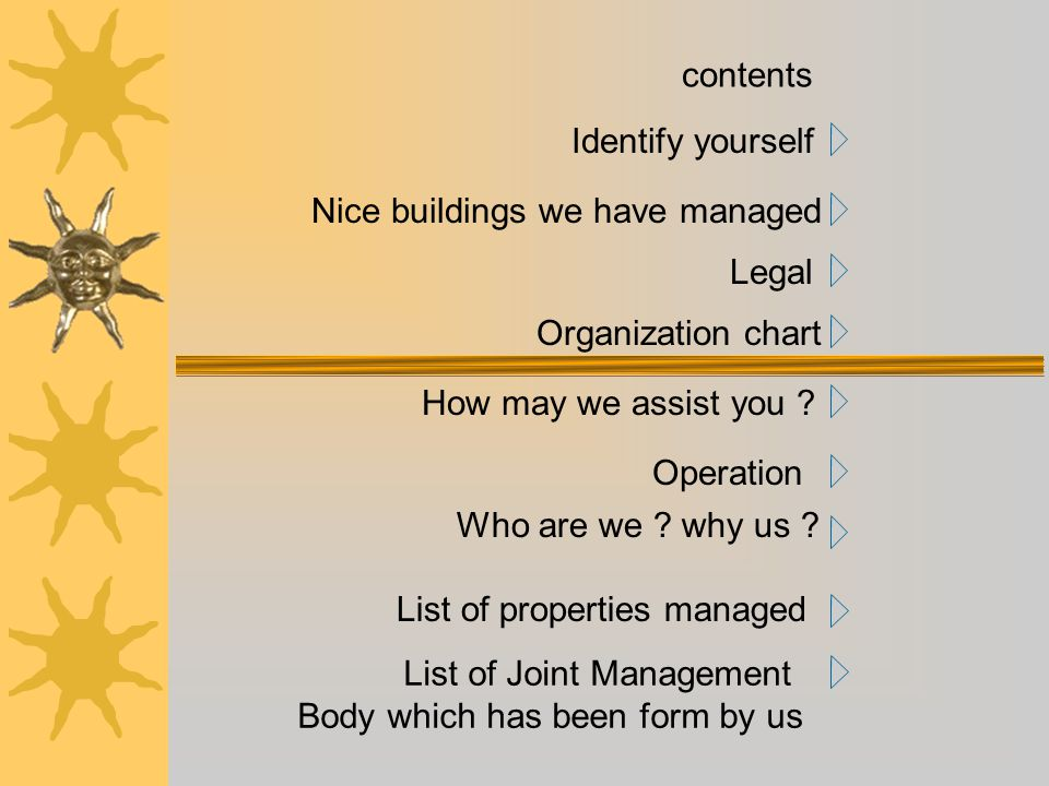 contents Identify yourself. Nice buildings we have managed. Legal. Organization chart. How may we assist you