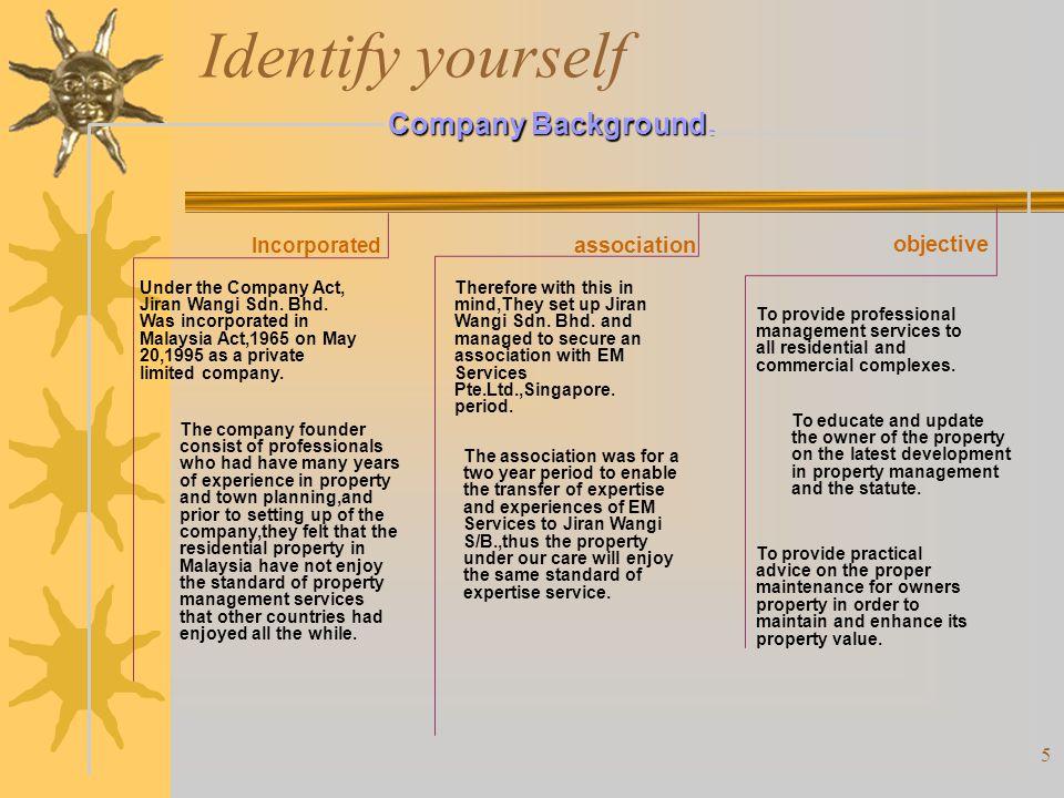 Identify yourself Company Background. objective association