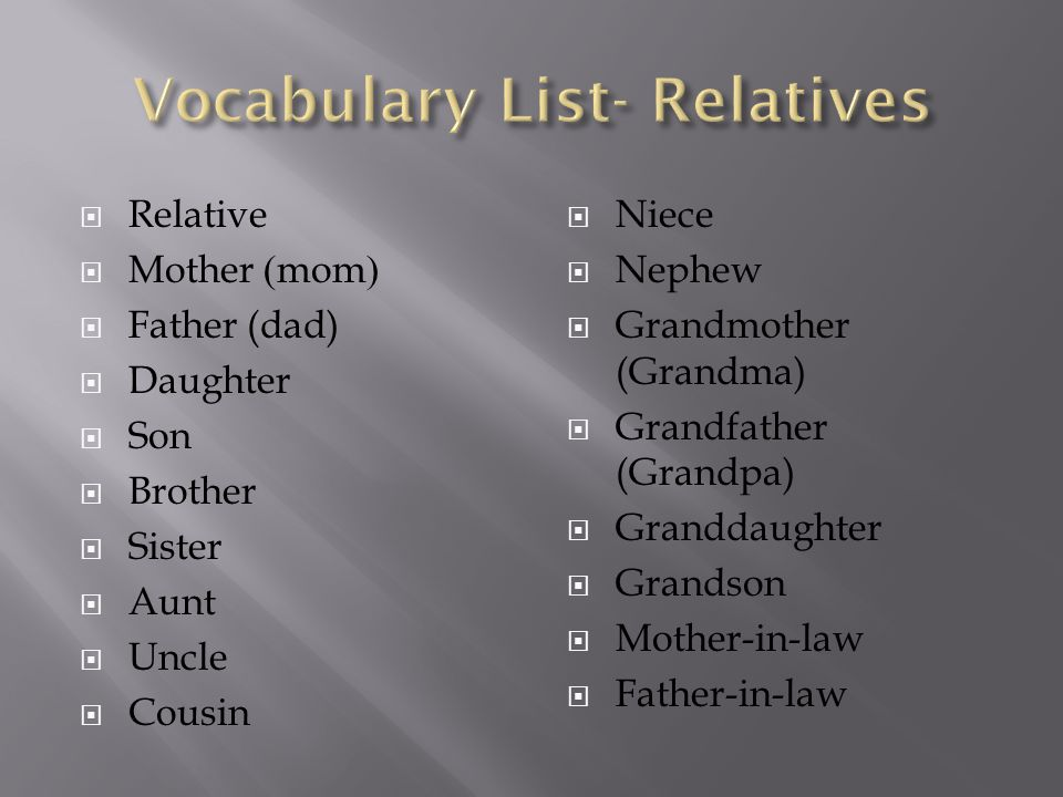 Vocabulary List- Relatives