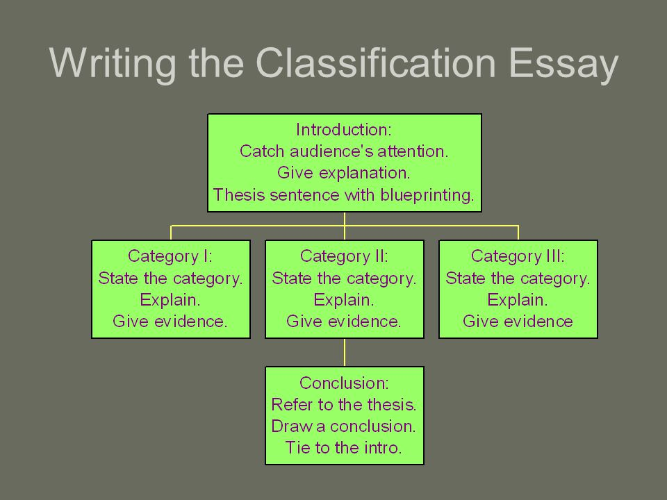 English Essay Outline Format  Writing The Classification Essay English Essay Writer also College English Essay Topics Classification Essay  Ppt Video Online Download Compare And Contrast Essay Topics For High School