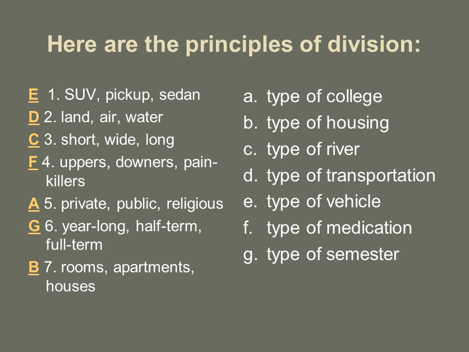 Here are the principles of division: