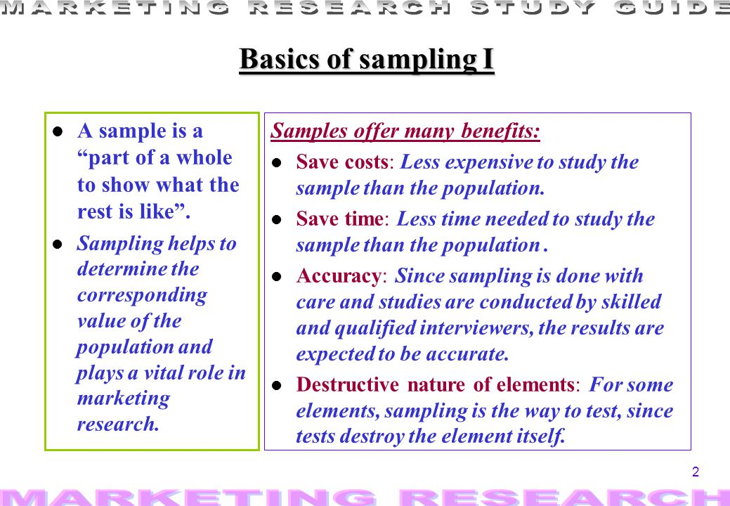 Basics of sampling I A sample is a part of a whole to show what the rest is like .