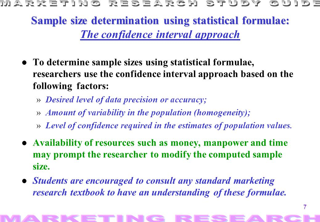 Sample size determination using statistical formulae: The confidence interval approach