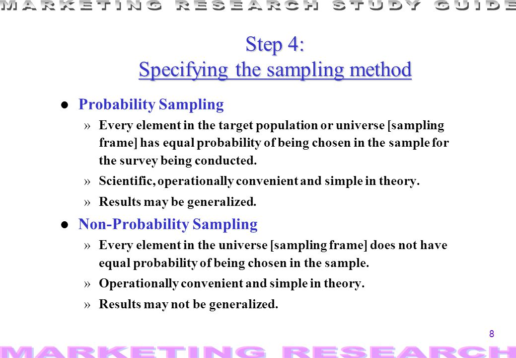 Step 4: Specifying the sampling method